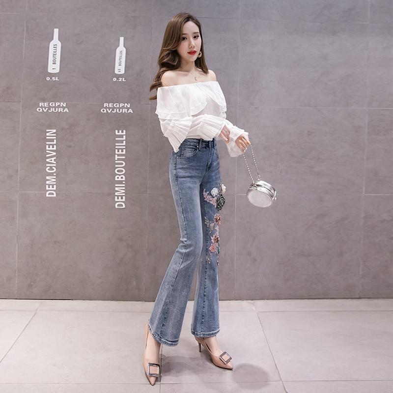 7fa5b77dedf Женские джинсы брюки Мода Высокая талия узкие брюки элегантный цветок  Аппликации Бисер расклешенные брюки stench bell