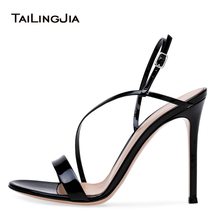Women Open Toe High Heel Sandals with Straps Sexy Strappy Dress Shoes Elegant Heels Ladies Buckle Strap Summer Shoes 2018 цена в Москве и Питере