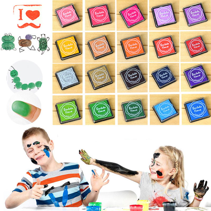 20pcs Colorful DIY Craft Finger Print Ink Pad Inkpad Rubber Stamps Inkpads Ink & Pads Toys Kids Games Accessories