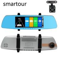 Smartour Car HD 1080P dual lens 7 inch touch screen camera driving recorder DVR black box night vision rear view image
