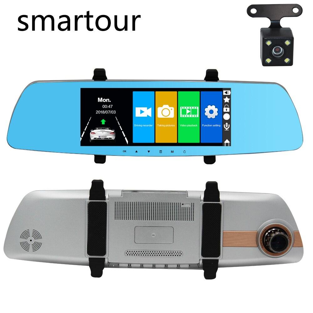 Smartour voiture HD 1080P double lentille 7 pouces écran tactile caméra enregistreur de conduite DVR boîte noire vision nocturne vue arrière image