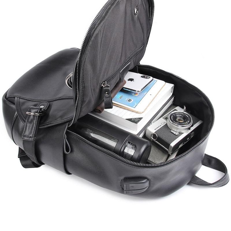 Vache sac à dos en cuir pour ordinateur portable Sac À Dos De Voyage USB Charge Mâle Mode sac D'école 2018A - 4