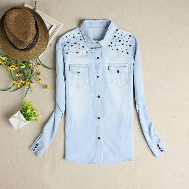 2019 Новая мода весна и лето для женщин джинсовая рубашка светло голубой цвет милые повседневное блузки для малышек джинсы с заклепками рубашки