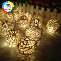 Coversage 20Leds Rattan Ball String Fairy Lights Christmas Xmas Wedding Decoration Party Garden Party Holiday Christmas Outdoor