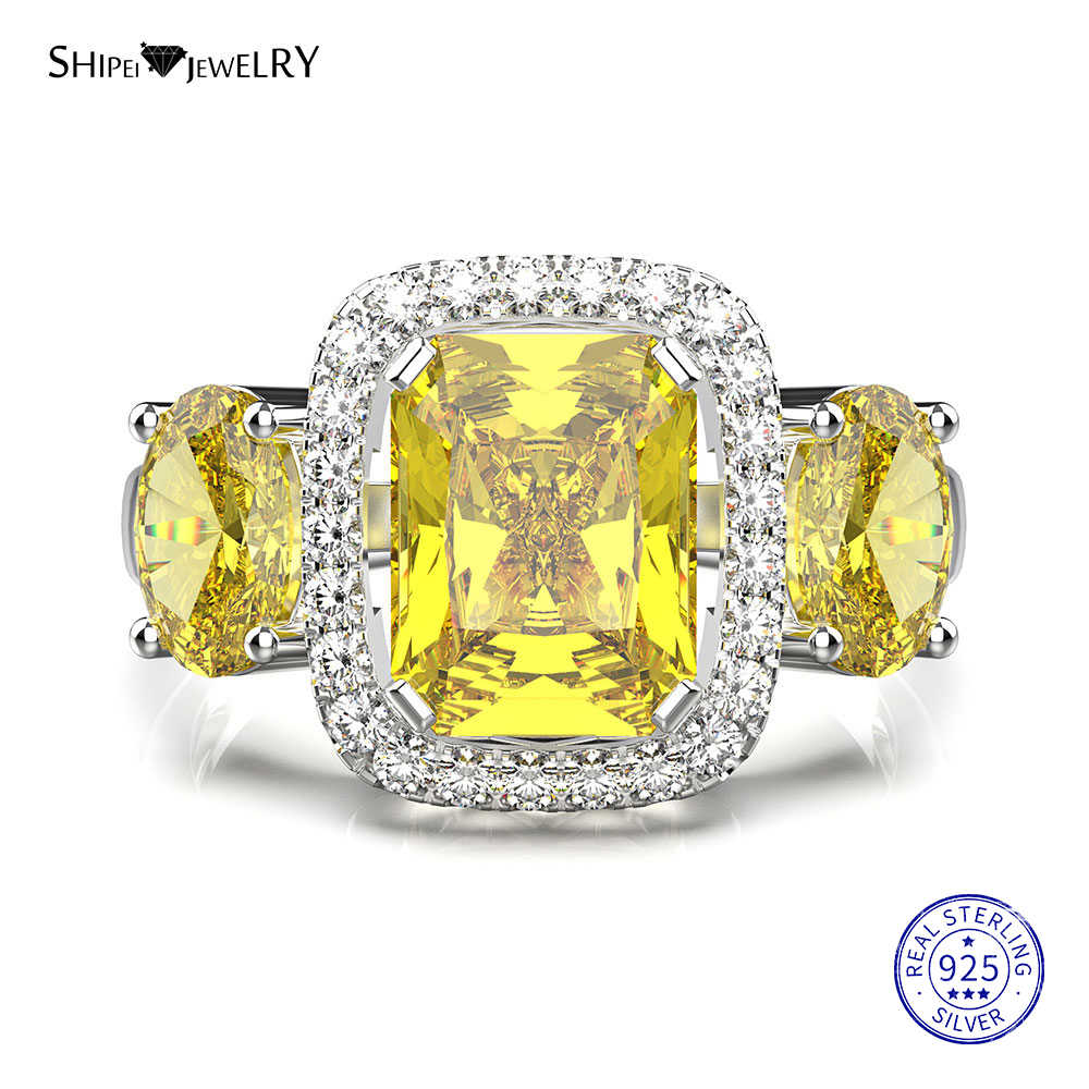 Shipei 100 925 Sterling Silver Yellow Sapphire Square Engagement