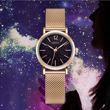 цена на Fashion Women Dress Watches Luxury Brand Rose Gold Ladies Small Clock Starry Sky Mesh Female Quartz Wrist Watch relogio feminino