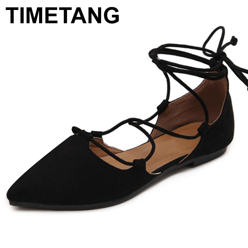 TIMETANG High Quality New 2017 Slim Sexy Pointed toe Flats Shoes Women Flat Heel Fashion Womens Flats Brand Shoes Plus Size C254 pu pointed toe flats with eyelet strap