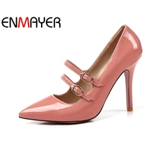 ENMAYER Women High heels Ladies pumps Solid Big Size 34-47 Spring Casual Shoes Double Buckle Strap Thin CR80