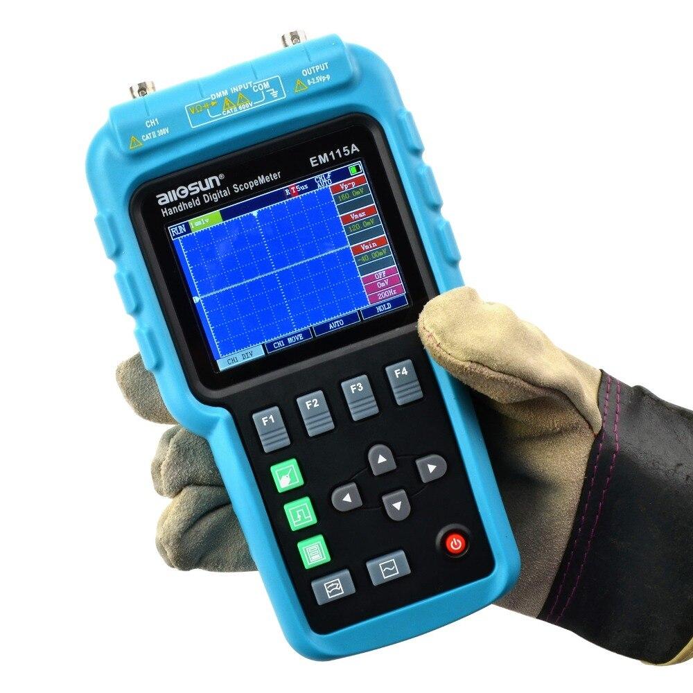 Все солнце EM115A 50 МГц 200MSa/S 3in1 Professional портативный цифровой осциллограф + мультиметр + генератор сигналов USB ColorLCD дисплей