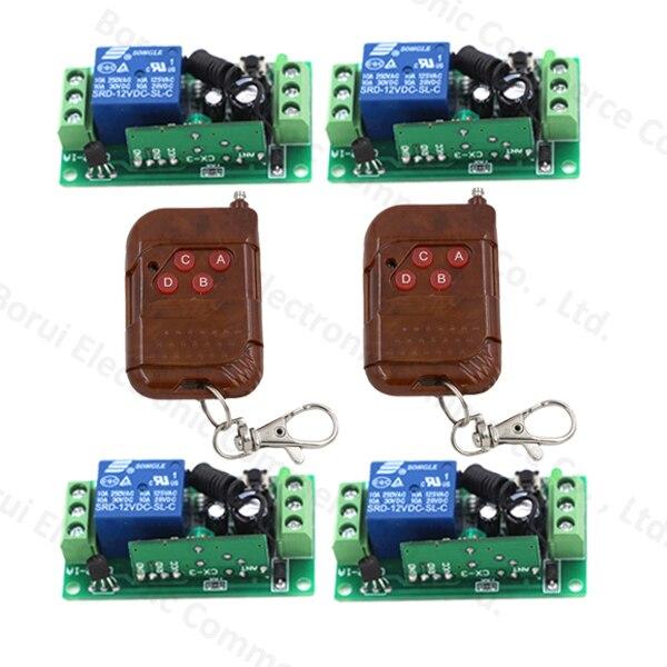 DC 12V 10A 1CH Wireless Remote Switch RF Remote Control Switch Transmitter Receiver Self-locking dc 12v 10a relay 1ch wireless remote control switch transmitter receiver