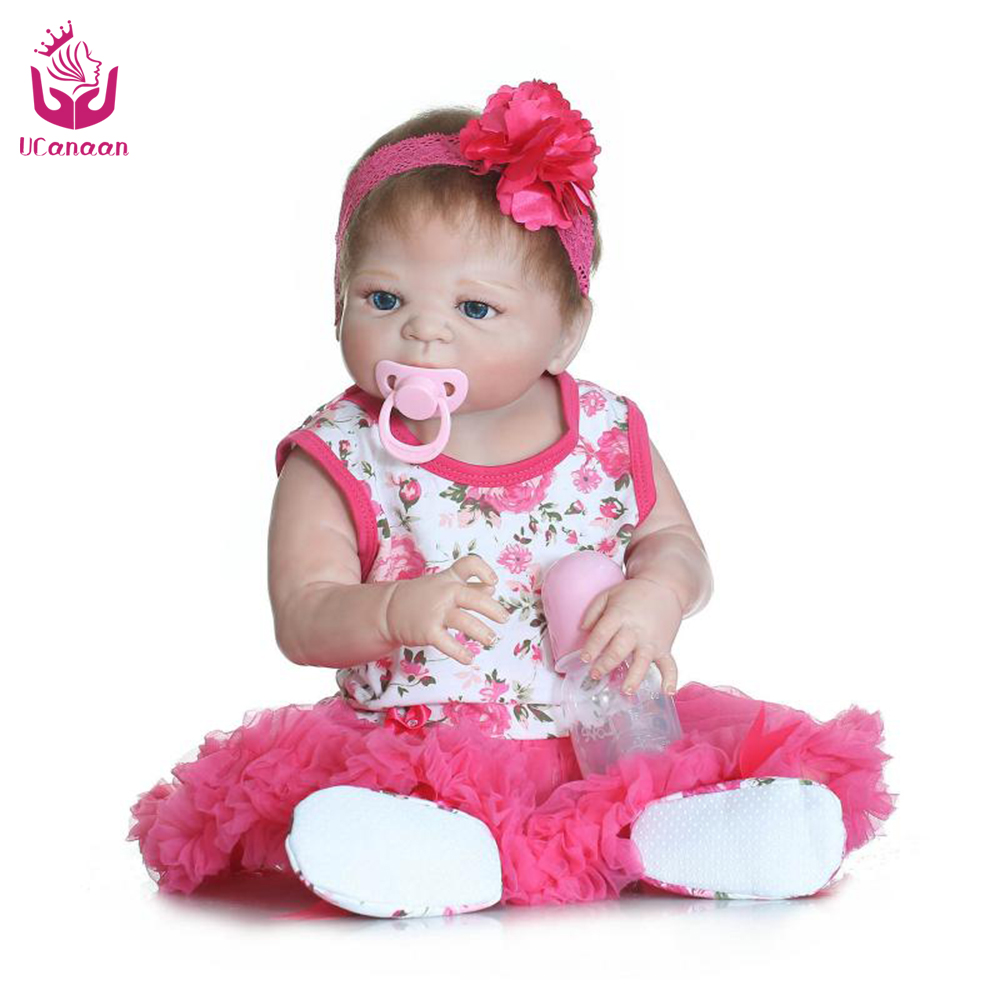 ФОТО ucanaan 50-56cm full vinyl silicone newborn babies doll princess adorable kids brinquedos toy the best gift for girls&daughter