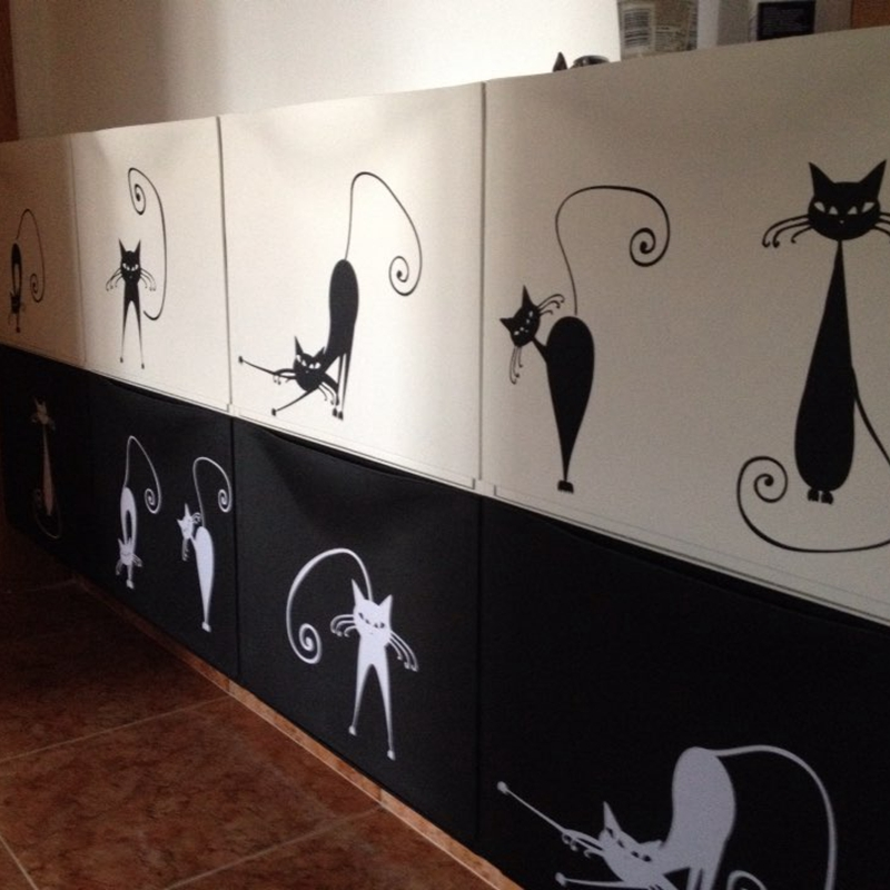 Cute Cat Wall Stickers, set di 5 simpatici adesivi murali in vinile gatto carino, spedizione gratuita Abstract pussy cat decoration p2037