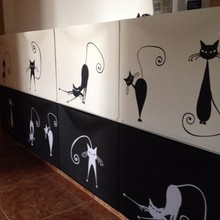 Cute Cat Wall Stickers Set Of 5 Funny Vinyl Decal Free Shipping Abstract Pussy Decoration P2037