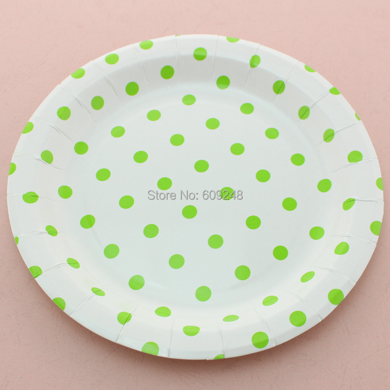 24pcs 9  Lime Polka Dot Paper Plates Round RoundLight Green Disposable Party Dessert Paper Dishes Tableware Wedding Birthday-in Disposable Party Tableware ... & 24pcs 9