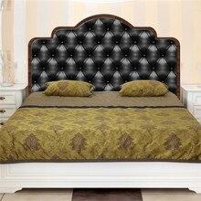 Современная черная кровать фоновая Наклейка ПВХ художественная наклейка самоклеящаяся Съемная Водонепроницаемая Наклейка на стену для спальни украшение дома
