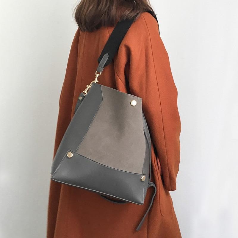Women\'S Bucket Shoulder Bag Big Matte PU Leather Wide Strap Crossbody Bags For Women Purses And Handbags Large Capacity Bolsas