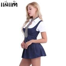 Женские вечерние костюмы для косплея на Хэллоуин, для школьниц, для студентов, сексуальные костюмы, Униформа, Женская нарядная рубашка с коротким рукавом, платье с галстуком