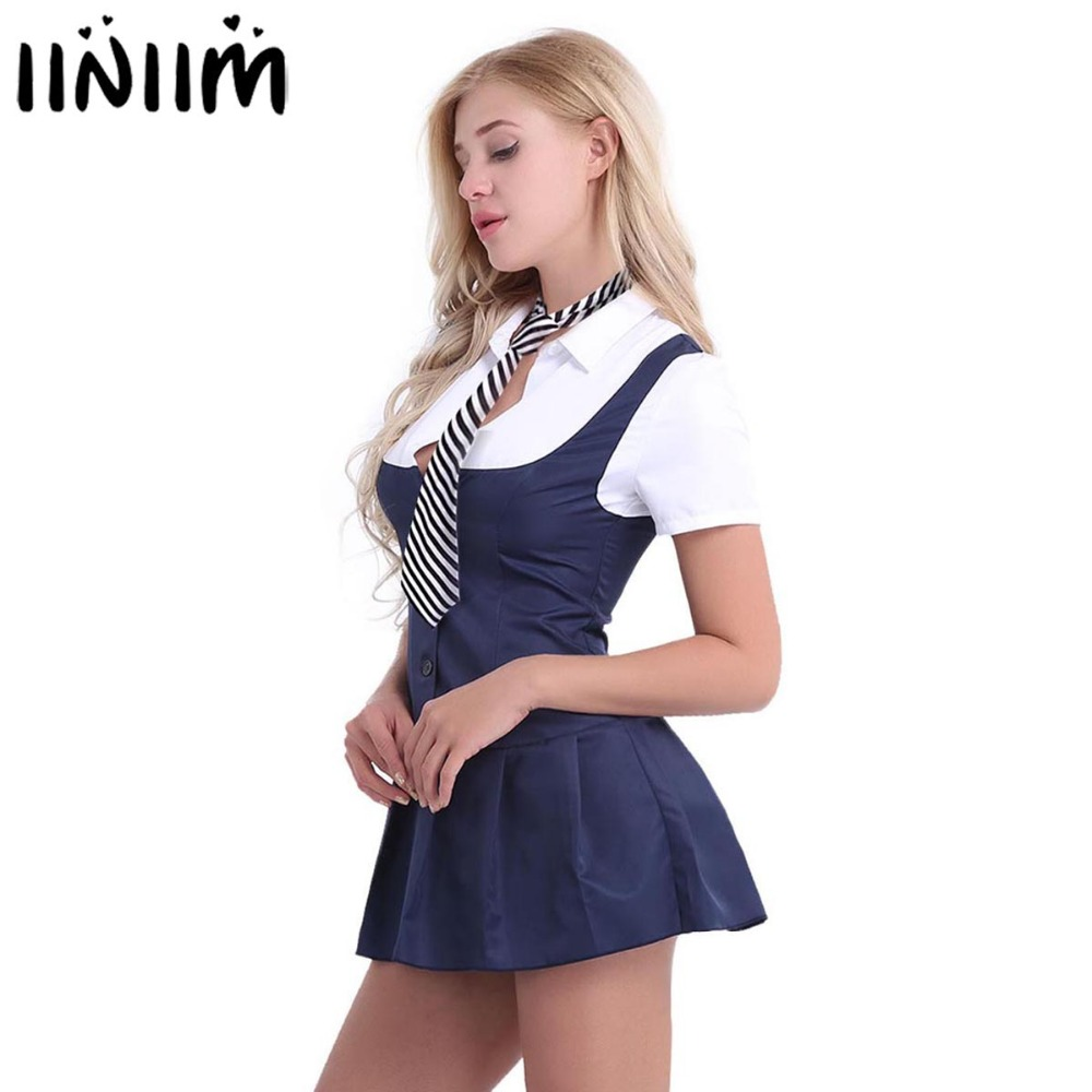 Women Adult <font><b>Halloween</b></font> Party Cosplay Schoolgirl Student <font><b>Sexy</b></font> Costumes Uniform Female Short Sleeve Fancy Shirt Dress with Necktie image