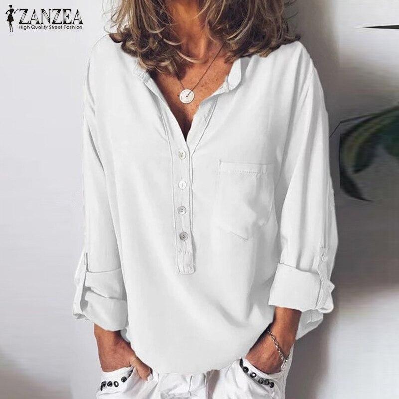 dfde7fbec6f5 ZANZEA verano mujeres V cuello Blusa de manga larga otoño camisa de Mujer  elegante oficina trabajo ...