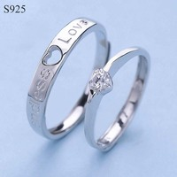 Genuine Real Pure Solid 925 Sterling Silver Couple Rings Fine Jewelry Women Man Female Male Love
