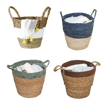 High Quality Storage Basket Rattan Woven Dirty Clothes Toy Organizer Nordic Flower Basket For Home