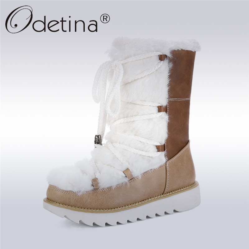 Odetina 2017 Fashion Non-slip Women Snow Boots Fur Thick Plush Flat Winter Warm Shoes Lace Up Ankle Boots Platform Big Size 43