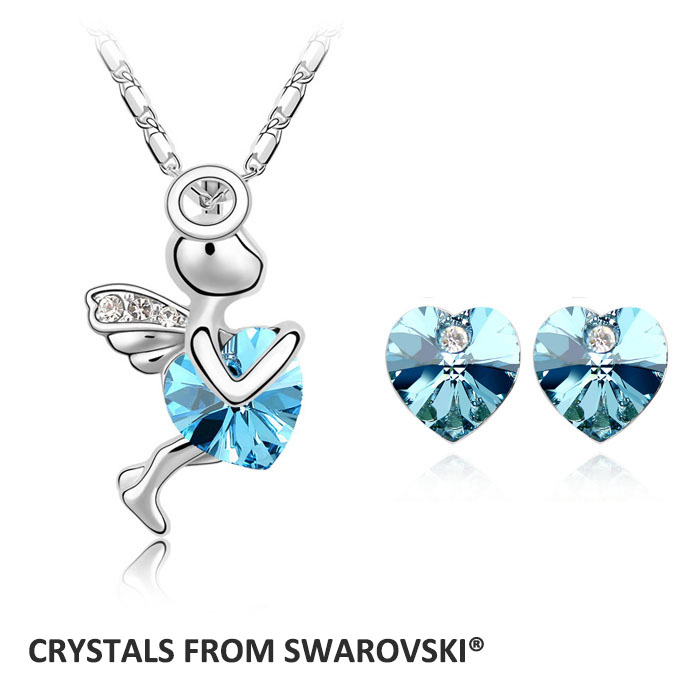 2015 hot sale wedding jewelry sets angle necklace set Crystals from Swarovski Christmas Gift