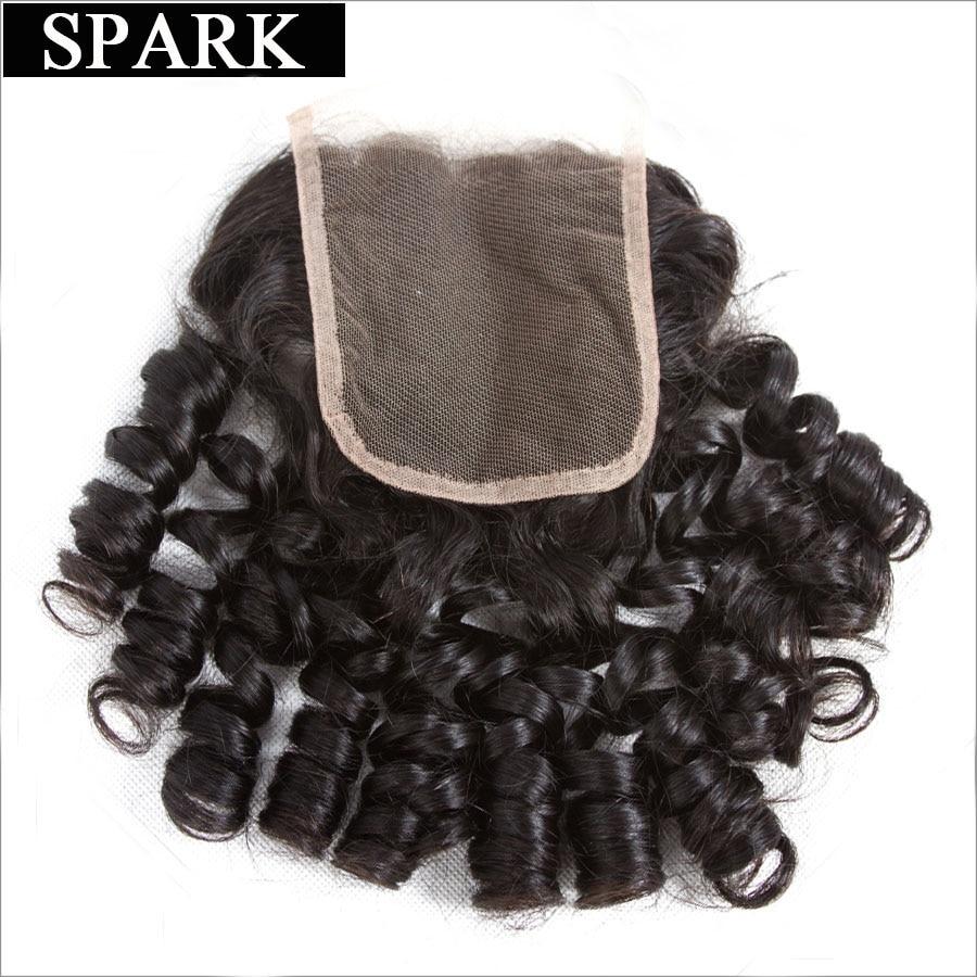 Spark Brazil bouncy göndör haj csipke bezárása 4x4 szabad rész - Emberi haj (fekete)
