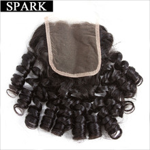 Spark Brazilian Bouncy Curly Hair Lace Closure 4x4 Free Part 10 to 22 inch Remy Human Hair Closure Bleached Knots Free Shipping