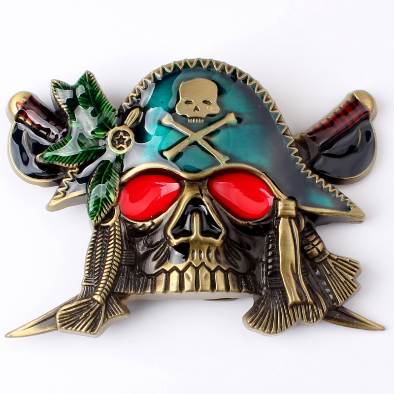Double Knife Pirate Skull With Buckle Smooth Buckle Belt Buckle
