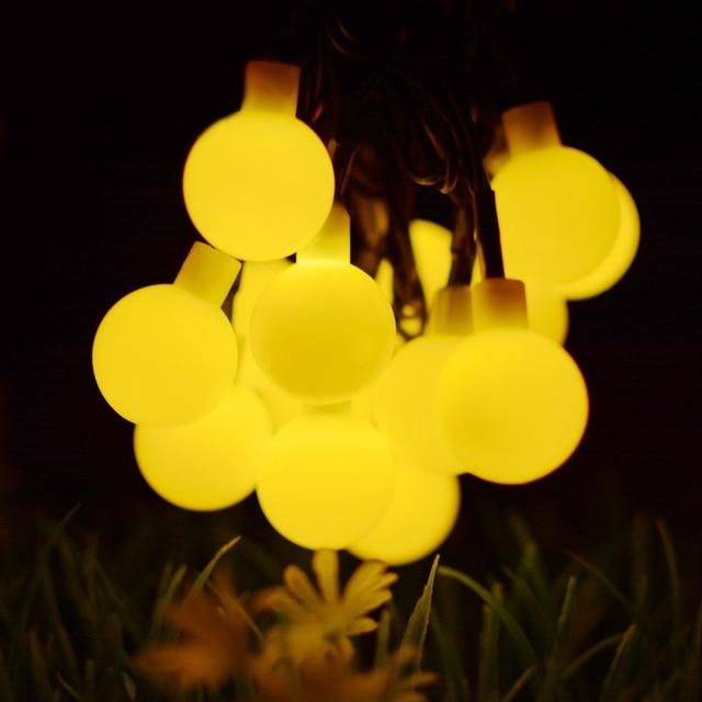 50 LED Lichterkette Bulb Solar Led String Holiday Lights Outdoor Solar Led  Lamp Fairy Garden Lights