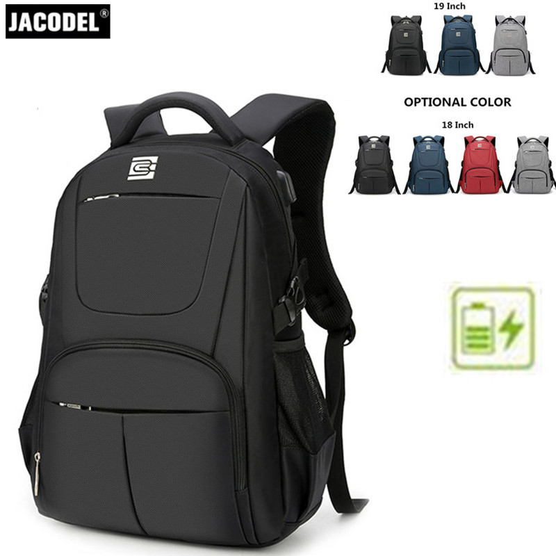 Jacodel Casual 17 18 19 Inch Laptop Backpack Large Computer Backpack Bag for Lenovo Acer Asus Dell HP Laptop Briefcase 17 18 19