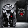 New Differ  Game Of Thrones House Of Targaryen Graphic Super Warm Thicken Fleece Zip Up Hoodie Men's Coat Red Shipping Hot Sale