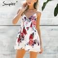Simplee Summer beach boho floral print trajes Sin Respaldo mujeres mono atractivo del Club blanco chifon playsuit mono mameluco leotardo