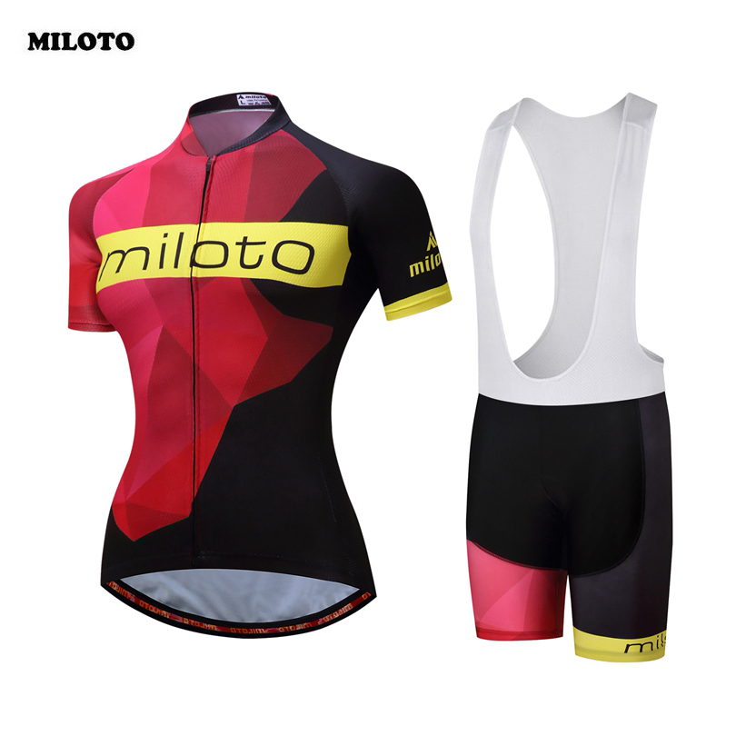 MILOTO Cycling <font><b>Jersey</b></font> Pro Team <font><b>Womens</b></font> Summer Ropa Ciclismo Short Sleeve MTB Bike Bicycle Cycling Clothing <font><b>Jersey</b></font> Sets Gel Pad