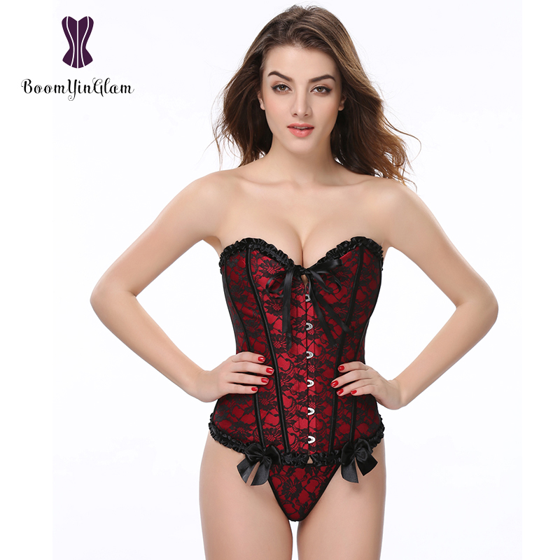 4 colors floral lace overlay overbust corselet with g string slimming shapewear victorian pleated bustier corset 805#