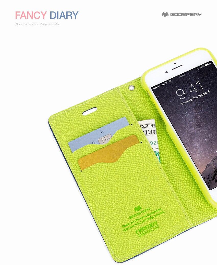 Genuine Mercury Goospery Fancy Diary Folio Flip Case Wallet Cover Samsung Galaxy J3 2016 Canvas Navy Color 6