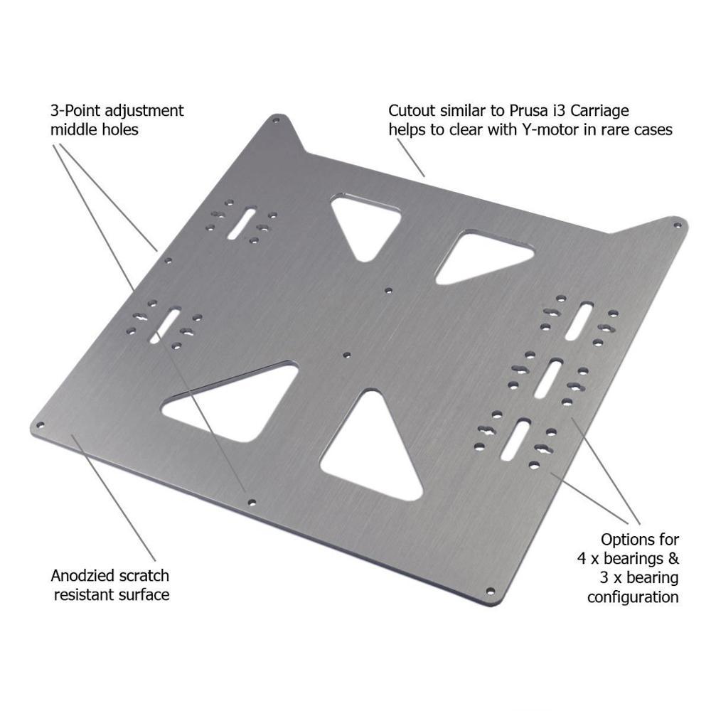 Prusa i3 RepRap imprimante 3D en aluminium Y chariot V2 Kit de plaque avec roulements SC8UU