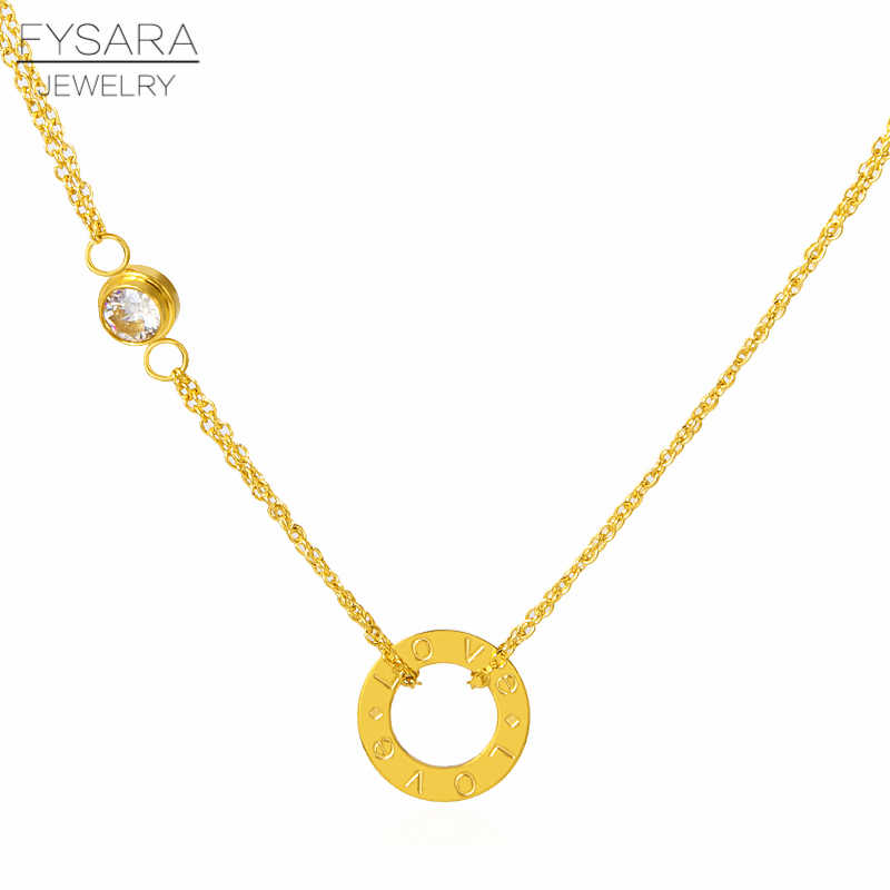 FYSARA Fashion Crystal Circle Pendants Necklace For Women Luxury Brand Letter Love Necklace Choker Gold Color Wedding Jewelry