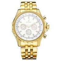 Golden New Clock Gold Fashion Men Watch Full Gold Plated Stainless Steel Quartz Wrist Watch Wholesale