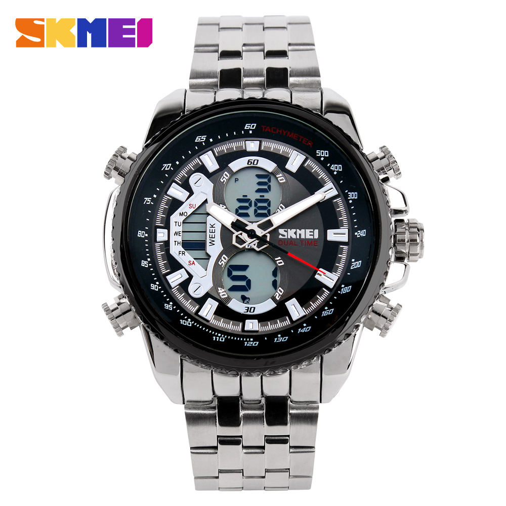 SKMEI Hot Mens Watches Top Brand Luxury Waterproof Digital Sport Watch Men Stainless Steel Quartz Wrist watches for male clock attractive hot sale mens stainless steel case sport black pu leather lcd digital quartz wrist watch sp17