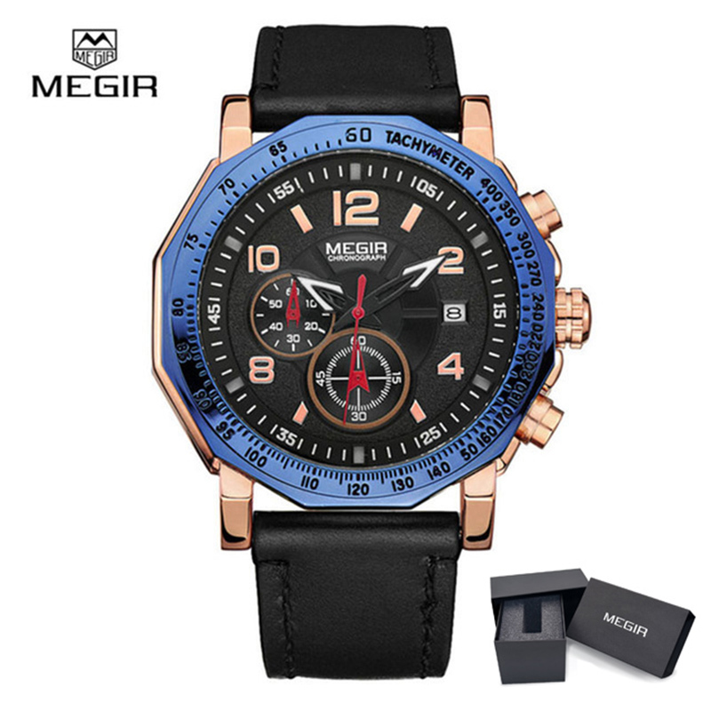 Megir 2048 Men Watches Quartz Watch Men's Luxury Brand Man Big Dial Sports Style Waterproof Wristwatches Relogio Masculino big blue white dial men s sports quartz watches men watch pu leather wristwatches for lover gift relogio masculino ll