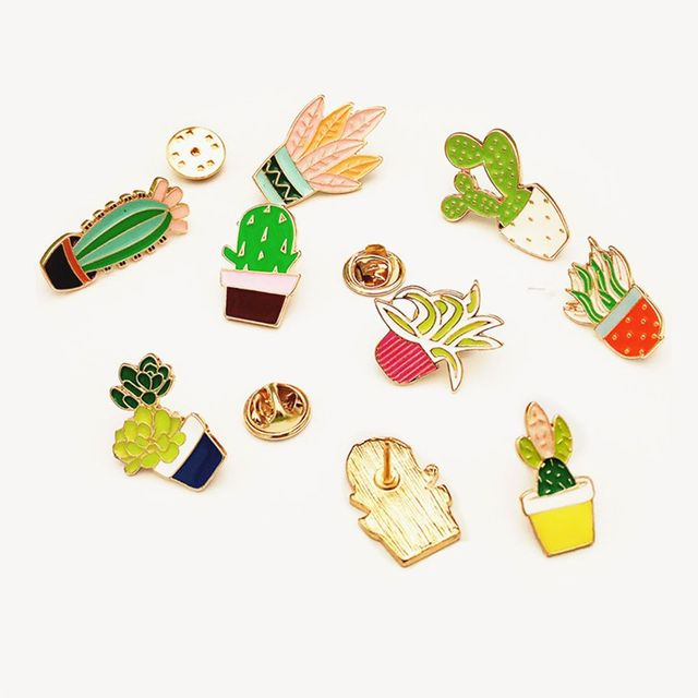 4aad647d4f5 1 Pc New DIY Lovely Collar Pin Badge Corsage Cartoon Plant Succulents Brooch  Cactus Pins Cute