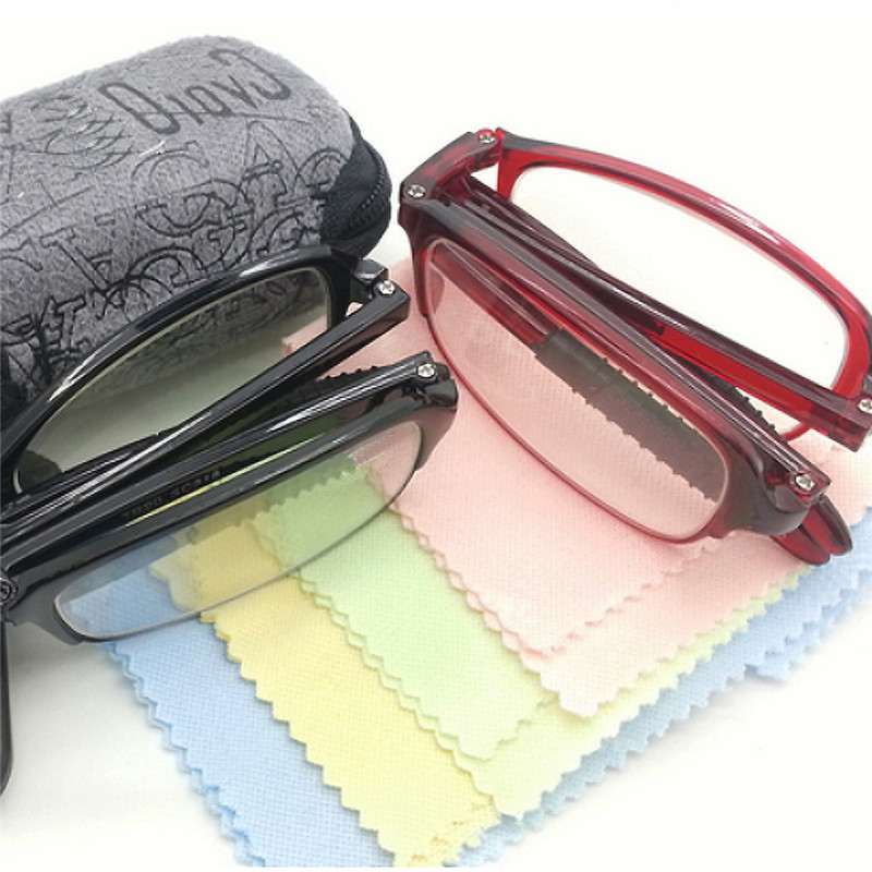 TR90 Folding Portable Resin Reading Glasses Men Women Cloth Case With Clip Glasses 1.0 1.5 2.0 2.5 3.0 3.5 4.0 011