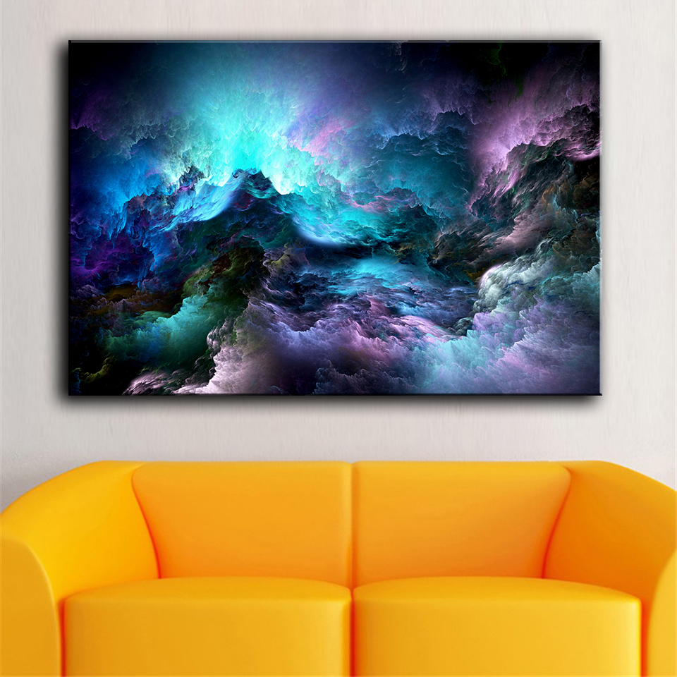 HDARTISAN Wall Art Canvas Pictures For Living Room Home Decor Unreal Clouds Abstract Oil Painting No Frame
