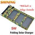 5 w recorrido que acampa portable solar cargador del panel solar del teléfono móvil de carga del panel solar kits con construido en regulador de tensión