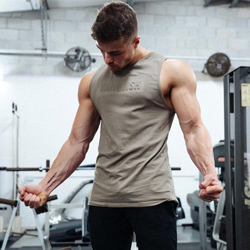YEMEKE Gyms 2019 Summer Fitness Men   Tank     Top   Mens Bodybuilding Stringers   Tank     Tops   Singlet Brand Clothing men Sleeveless Shirt