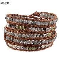 בציר בסגנון אירופאי והאמריקאי KELITCH חרוזים זרע 5 גלישת צמיד אבן טבעית בעבודת יד צמידים עם חבילת כרטיס תיבת