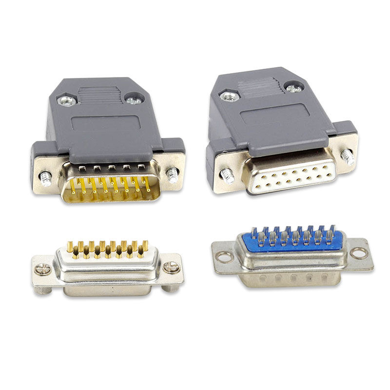 Industrial Grade DB15 <font><b>Male</b></font> <font><b>Female</b></font> <font><b>Connector</b></font> 2 Row 15 Pin Plug <font><b>15PIN</b></font> Parallel Port Computer <font><b>Connector</b></font> image