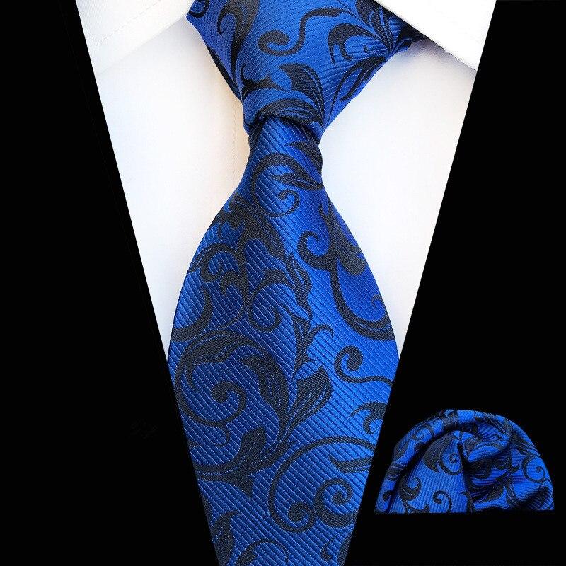 Fashion Mens Tie Set Royal Blue Neck Tie Pocket Square 8cm